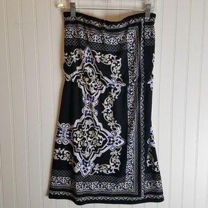 WH|BM Strapless Black, Blue & Nude Short Dress